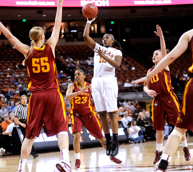 <p>Yvonne Anderson has been crucial for the Longhorns this season and had a game winning shot with one second left in Texas' win over Iowa State on Saturday. She and the other seniors will be vital in Texas' tough conference match up against Oklahoma.</p>