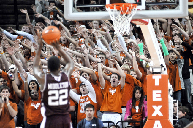<p>Texas A&M's Khris Middleton (22) lines up a free throw in front of the O-Zone, Texas' student section. The Aggies and Longhorns have had a number of memorable battles this last decade, and tonight might be the last. </p>