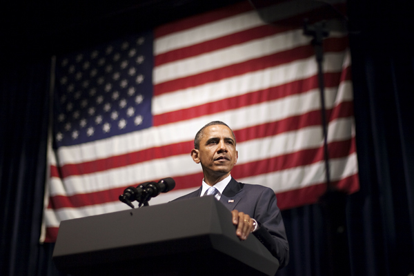 <p>President Barack Obama delivers a speech during a Democratic National Committee fundraiser at The Moody Theater on Tuesday. Tickets for the event cost $1,000, but a limited number were available to students for $44.</p>