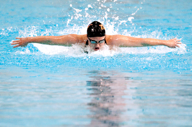 <p>Freshman Kait Pawlowicz swims the 200 fly during a meet against Georgia over winter break.  The break proved fruitful for both the men's and women's squads as both teams came away with numerous individaul event wins, the men went 2-0 as a team and the women went 1-1.</p>