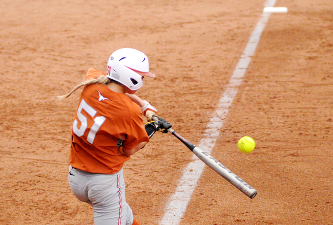 <p>Senior first baseman Lexy Bennett has been a key piece of Texas' 23-2  record. She is hitting .471 with a .539 OBP and a perfect fielding percentage.</p>
