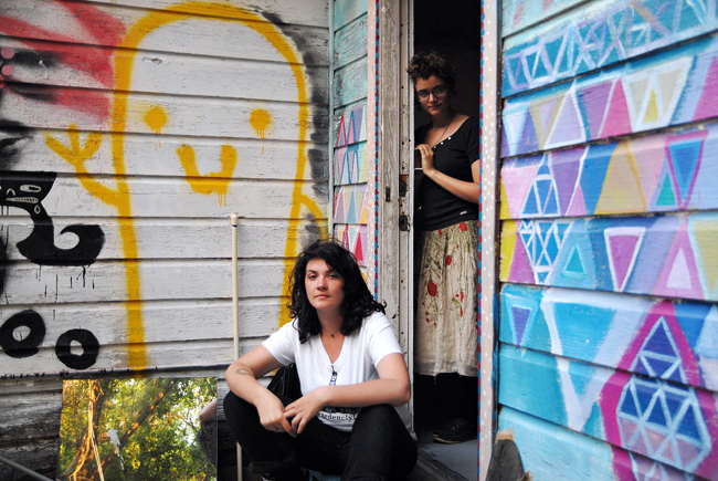 <p>Olivia Pepper and Katie Rose Pipkin at the back door of Wardenclyffe Gallery. Pepper and Pipkin recently acquired the vacant building with the help of a Kickstarter initiative and enlisted the help of various  volunteers to renovate it into an art gallery in East Austin.</p>