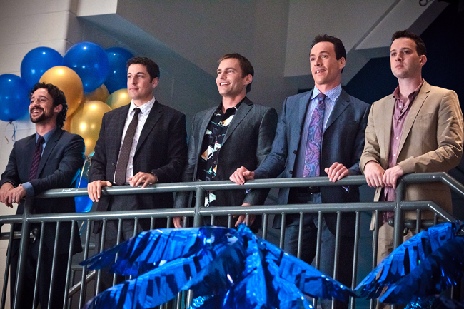 """<p>In this image released by Universal Pictures, from left, Thomas Ian Nicholas), Jason Biggs, Seann William Scott, Chris Klein and Eddie Kaye Thomas are shown in a scene from """"American Reunion"""". (Photo courtesy of Universal Pictures)</p>"""