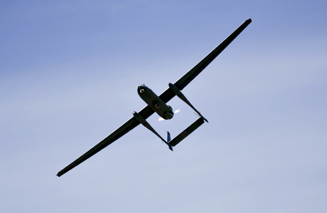 <p>In this March 7, 2007, file photo, the Israeli army Heron TP drone, also known locally as the Eitan, flies during a display at the Palmahim Air Force Base.</p>