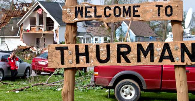 <p>A house sits ripped-open from a tornado on Sunday in Thurman, Iowa. Thurman appeared to be the hardest hit community in Iowa, but storms caused damage elsewhere in the state, as well as in Nebraska. There were more than 100 reports of tornadoes across the Midwest.</p>