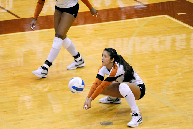 <p>Senior starting Libero Sarah Palmer against UTSA in 2011. Palmer comes to Texas from Hawaii and is joined by former club teammate Kat Brooks, a freshman libero also from the Aloha State</p>