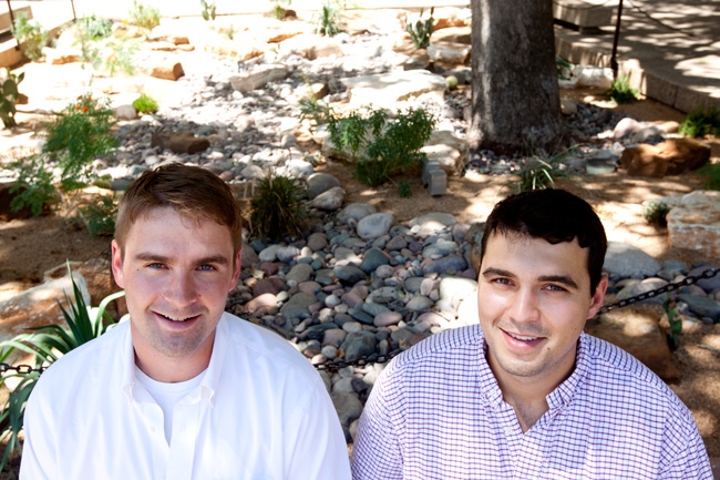 <p>Environmental science majors Tim Eischen and Hank Star are the minds behind the xeriscaping project at the Harry Ransom Center. </p>