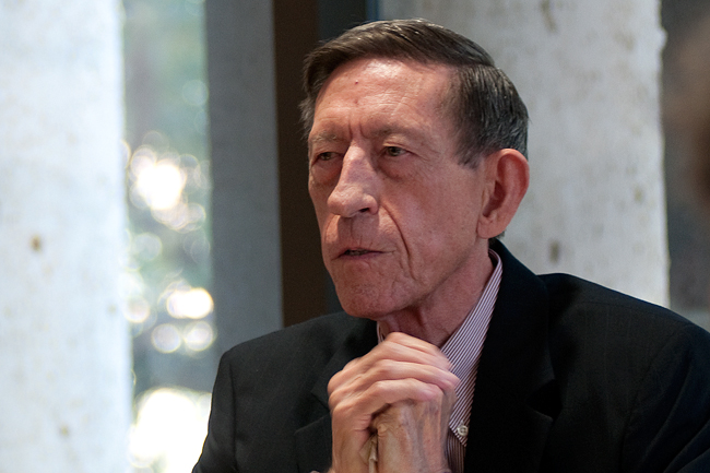 <p>Federal Judge Harry Hudspeth speaks about the laws affecting the gun export industry from the U.S. into Mexico at the Harry Ransom Center Wednesday. Hudspeth was one of three at UT who addressed border issues such as immigration, violence and drug-trafficking.</p>