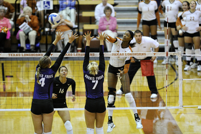 <p>Junior outside hitter Bailey Webster notched 12 kills against Texas Christian. </p>