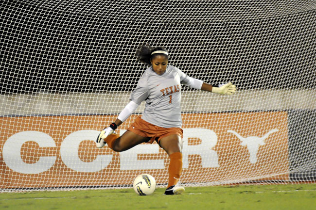 <p>Freshman goalkeeper Abby Smith boots a ball out of the Texas next against Big 12 regular season champions West Vriginia. The Longhorns finish the regular season 7-10 with a 4-4 Big 12 record. </p>