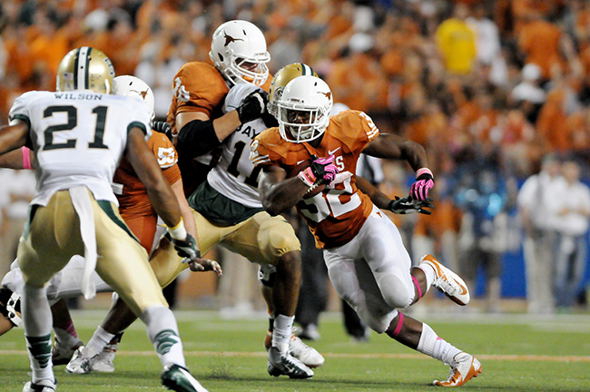 <p>Texas running back Johnathan Gray makes his way down the field during the game against Baylor.</p>