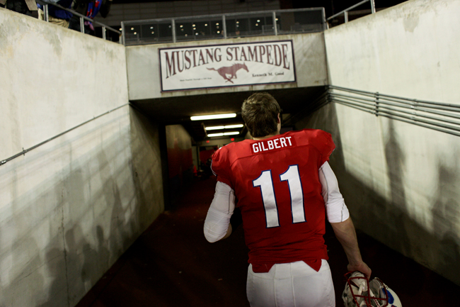 <p>Mustant Quarterback Garrett Gilbert had a solid night Thursday throwing for 265 yards and a career-high four touchdowns. After a rocky start at Texas, the transfer to SMU has proven to be a refreshing start for the Lake Travis High School graduate.</p>