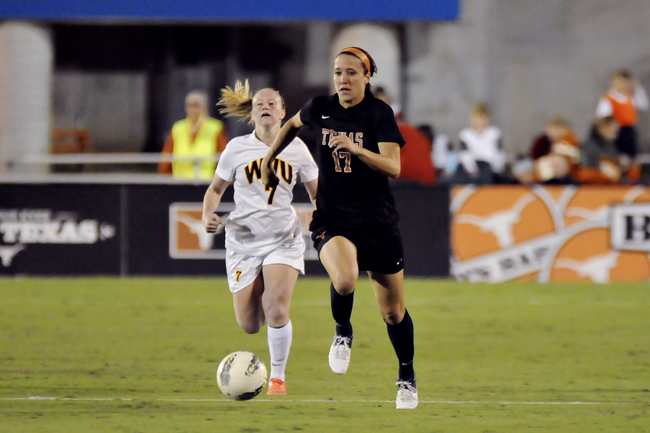 <p>Freshman Kelsey Shimmick scored two goals during Texas' quarterfinal matchup. Texas moves on to play TCU on Friday.</p>