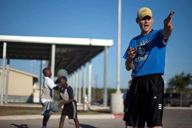 Dave Edwards coaches the Bulldogs, a basketball team in East Austin. The goal of the Bulldogs program is to support economically disadvanaged children and enstill values.