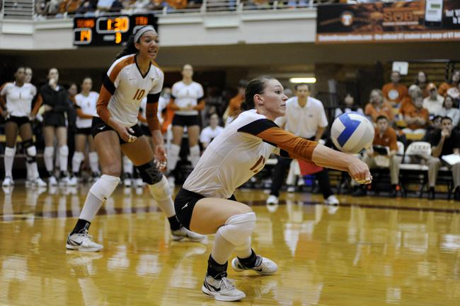 <p>Junior setter Hannah Allison launches the ball against Tech. </p>