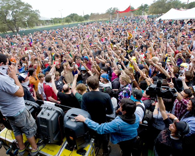 Enthusiastic fans gather close to a stage at Fun Fun Fun Fest 2011. Crowds at FFF are smaller than those at ACL, allowing for a more comfortable festival experience. Photo courtesty of Transmission Events