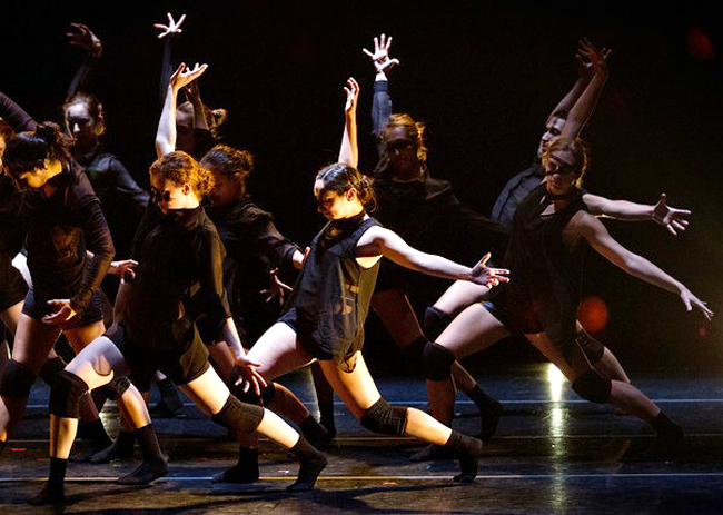 """<p>UT dance majors perform """"Terminal Static"""" choreographed by Andy Noble. """"Terminal Static"""" is one of five modern dance works in """"Fall for Dance,"""" Dance Repertory Theatre's fall performance (<span class="""