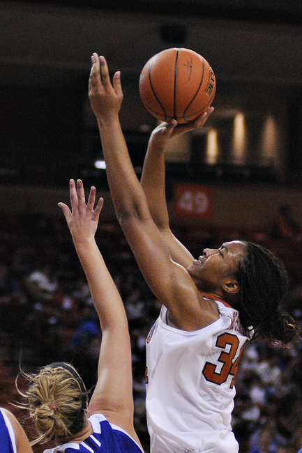 <p>Freshman corner Imani McGee-Stafford shoots in Friday's 79-30 victory over Texas A&M Corpus Christi. McGee-Stafford had 20 points and 11 rebounds.</p>