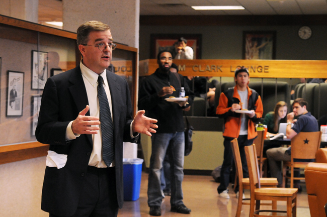 <p>Dean Ward Farnsworth, new dean of the Texas Law School, meets and greets with law students during the 45th annual Law Week on Tuesday afternoon. Fransworth's highest concern is improving student life through offering better student mentoring and increasing job opportunities.</p>