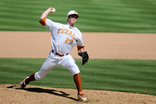 <p>Junior Corey Knebel, whose fastball reaches speeds of up to 97 mph, tied Huston Street's single-season school record with 19 saves as a freshman in 2010. He will continue his role as the team's closer this season. (Daily Texan file photo)</p>