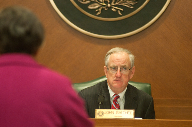 <p>Representative John Smithee listens to a testimony at a hearing Tuesday afternoon at the Capitol.</p>