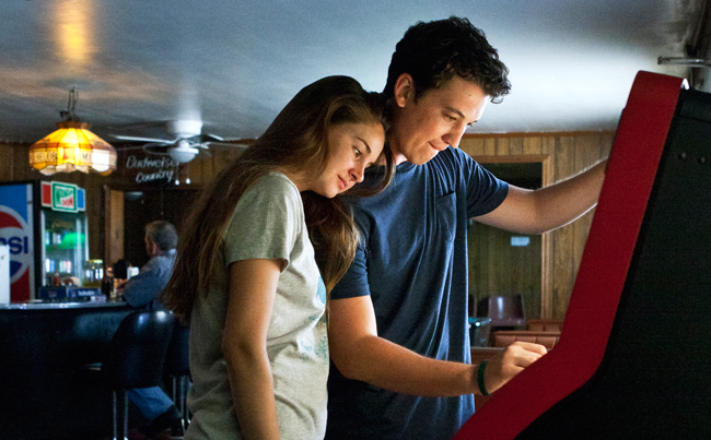 <p>Teller plays Sutter Keely, an impulse-driven teen who's in the first stages of an intense post-dumping downward spiral when he wakes up on an unfamiliar lawn with Aimee (Shailene Woodley) standing over him.Photo courtesy of A 24 Studios.</p>