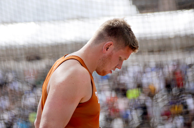 <p>Sophomore Ryan Crouser threw a personal best in the shot put during the Texas Relays this past weekend. Crouser has fought back from a string of setbacks, including a torn ligament in his hand and a throat infection, to return to his impressive freshman form</p>
