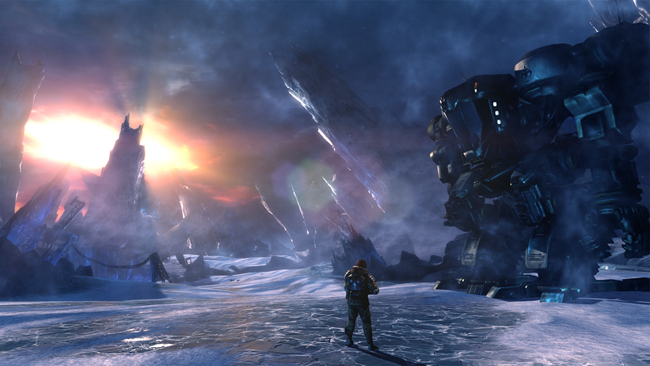 "<p>Jim Peyton, the protagonist of ""Lost Planet 3"", operates massive mechnical armor to battle enemies and traverses the forzen landscape of E.D.N. III.</p>"