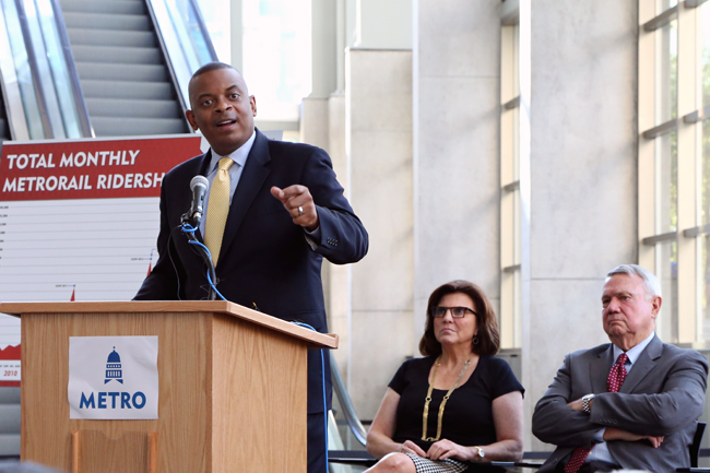 <p>U.S. Secretary of Transporation Anthony Foxx speaks about a federal grant worth $11.3 million to improve transportation in Austin at the Austin Convention Center on Thursday afternoon.<br /> <br /> </p>