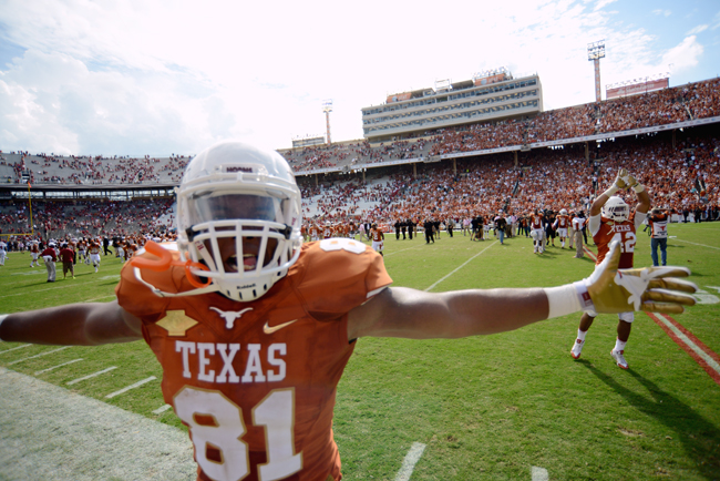 <p>Longhorn tight end Greg Daniels celebrates his first Red River Rivalry vicotry after defeating Oklahoma Saturday. Texas is now one of only three Big 12 teams that remain undefeated in conference play. If the Longhorns can stay hot and win the Big 12 this year, they will play in their first BCS bowl since 2005.</p>