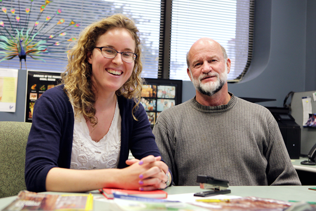 <p>Intergrative biology professor Mike Ryan and graduate student Patricia Jones are researching echolocation. Male tungara frogs' mating calls attract the attention of hungry bats.</p>