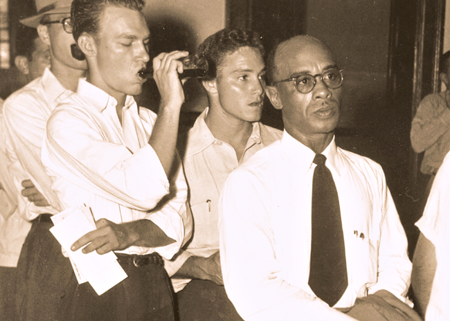 <p>Heman Sweatt was the first African-Amercian admitted to the University of Texas in 1950.</p>  <p><em>Correction: This caption has been edited since its original publication. The photo is of Heman Sweatt.</em></p>
