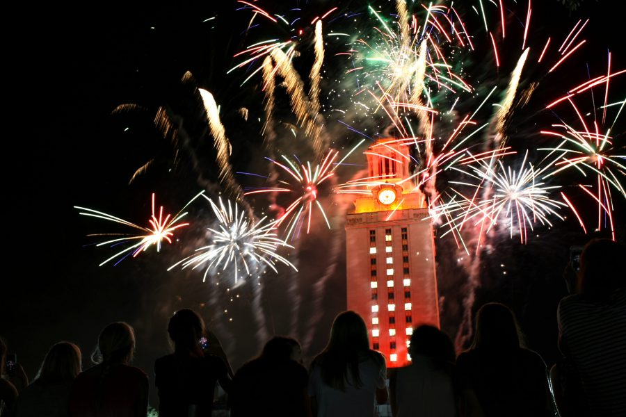 Commencement, graduation, UT, Austin, University of Texas, corgi, fireworks