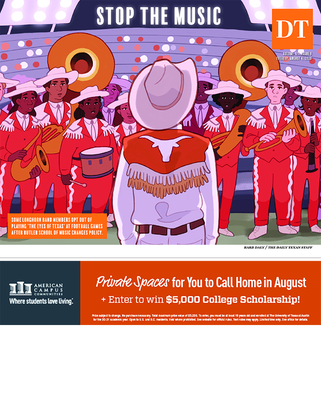 The Daily Texan newspaper cover for August 4, 2020.