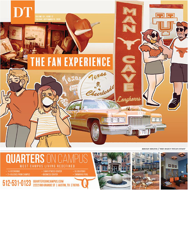 The+Daily+Texan+September+15%2C+2020+cover.+Collage+of+Longhorn+Football+memorabilia+and+fans.+