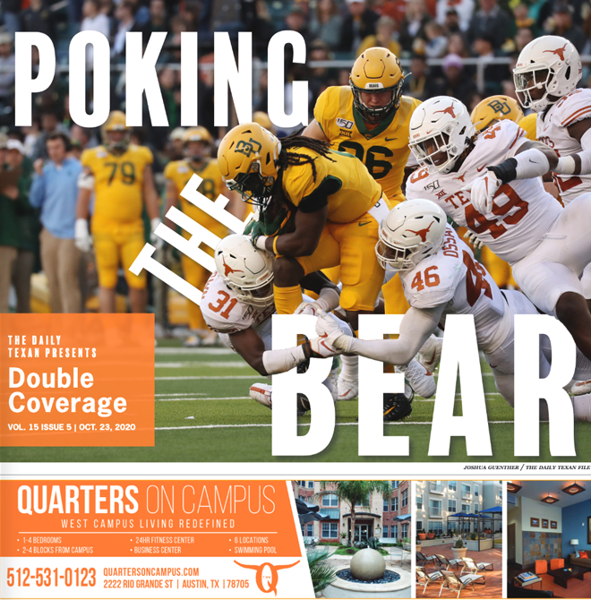 The Daily Texan Double Coverage newspaper October 23, 2020.