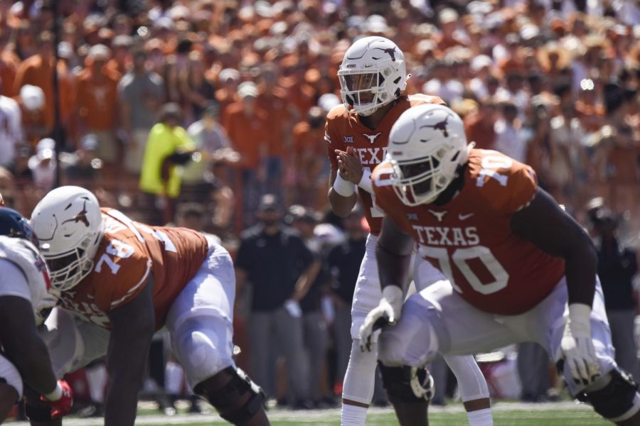 Texas+routs+Texas+Tech+70-35+as+offensive+line+shines+to+kick+off+conference+play