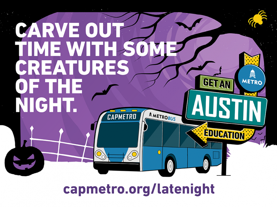 Halloween-themed illustration of a bus driving for Austin Capital Metro